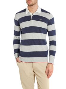 Striped knitwear polo shirt