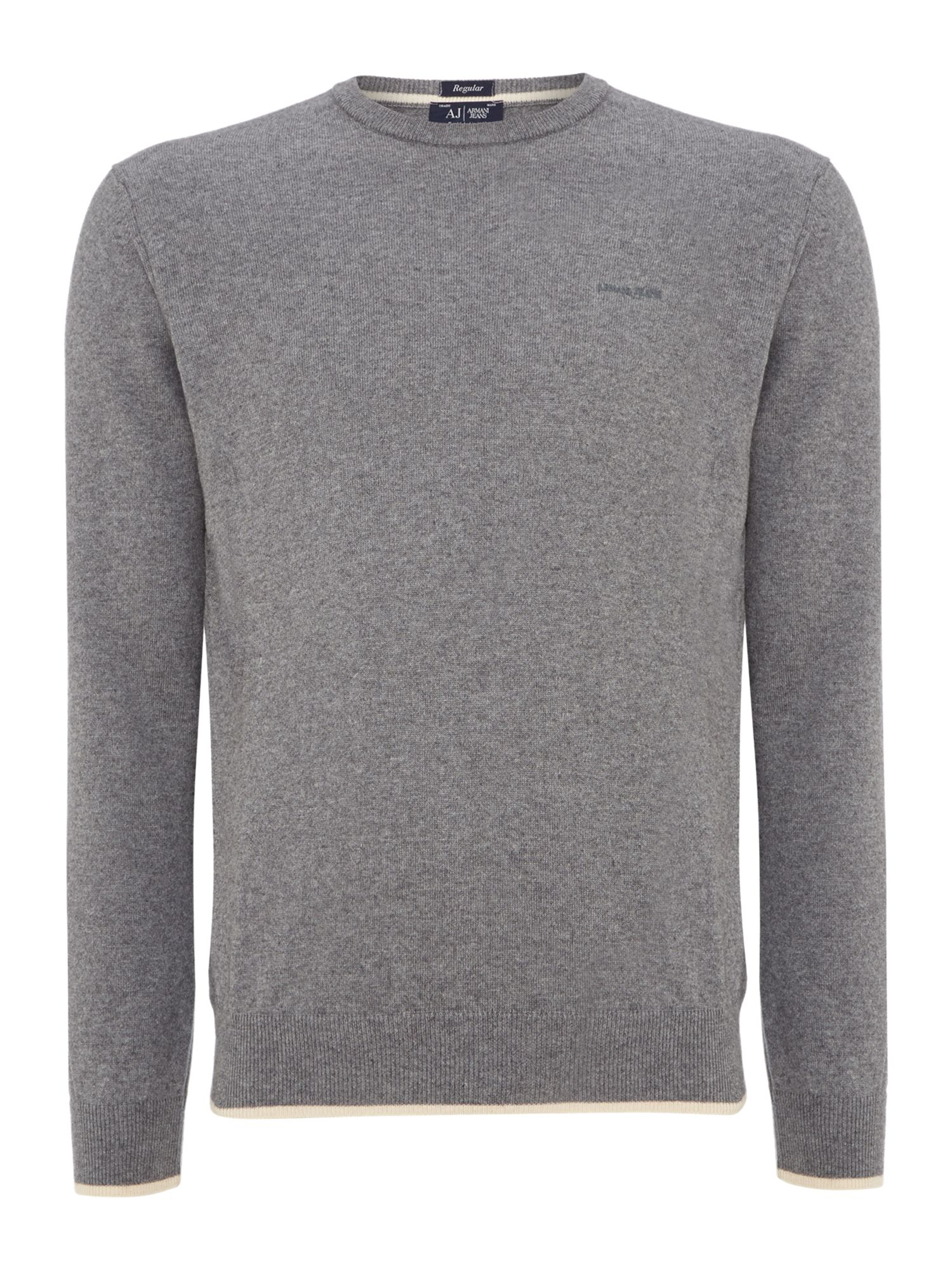 Armani Jeans Men's  Crew neck wool cotton mix jumper, Grey
