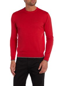 Crew neck wool cotton mix jumper