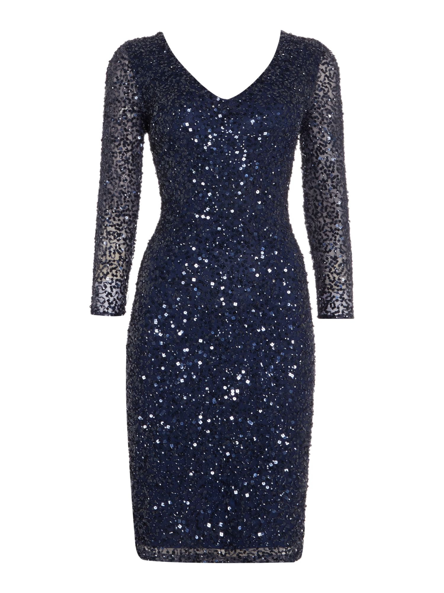 JS Collections All over sequin V neck dress, Blue