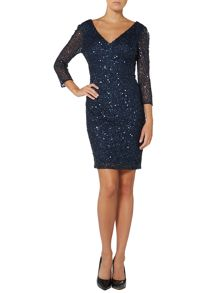 All over sequin V neck dress
