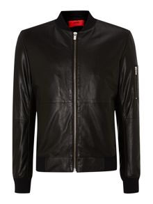 Leaf leather bomber jacket
