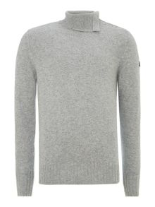 Button shoulder roll neck jumper