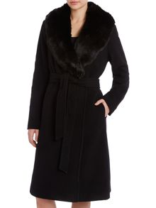 Faux fur collar wrap wool coat