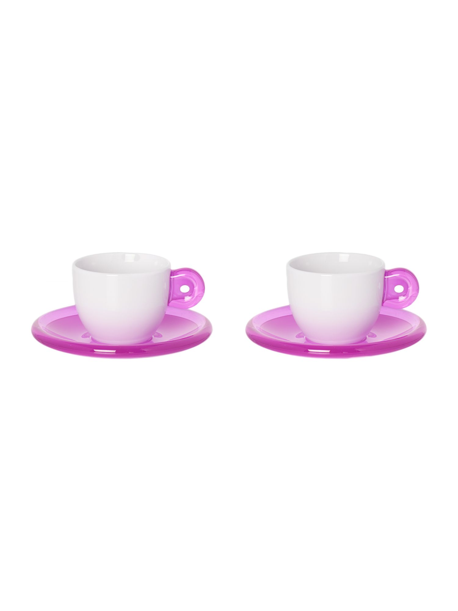 Set of 2 Espresso Cups With Saucers Violet