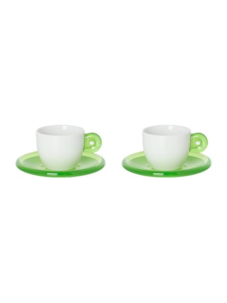 Guzzini Set of 2 Espresso Cups with Saucers Green