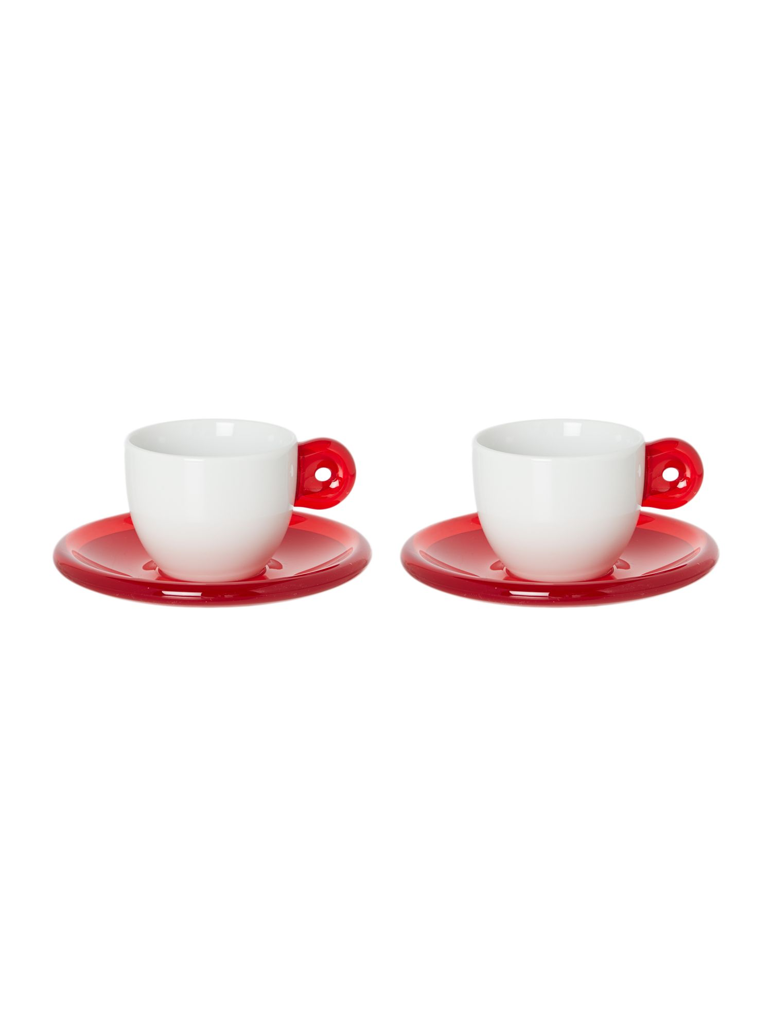 Set of 2 Espresso Cups With Saucers Red
