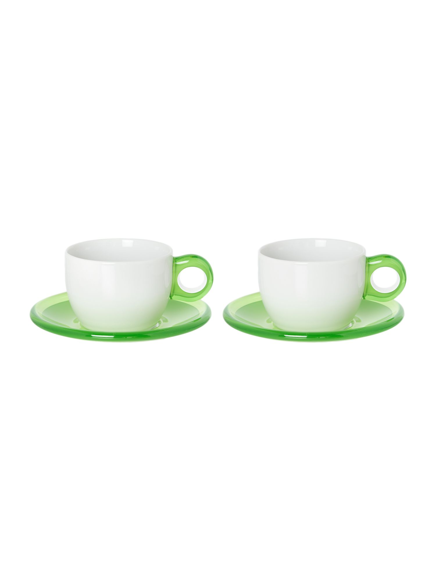 Set of 2 Cappiccino cups with Saucers Green