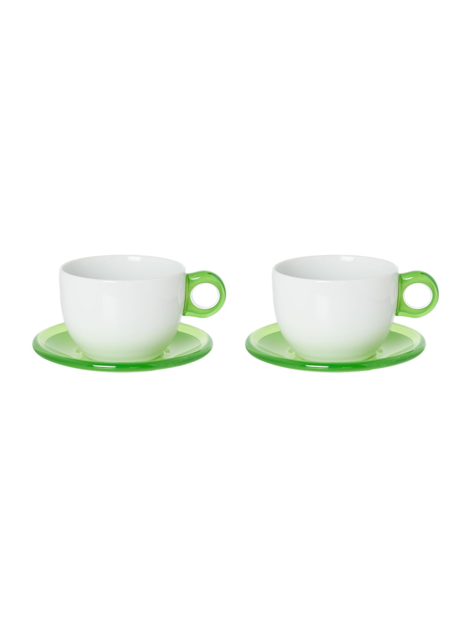 Set of 2 Breakfast cups with Saucers Green