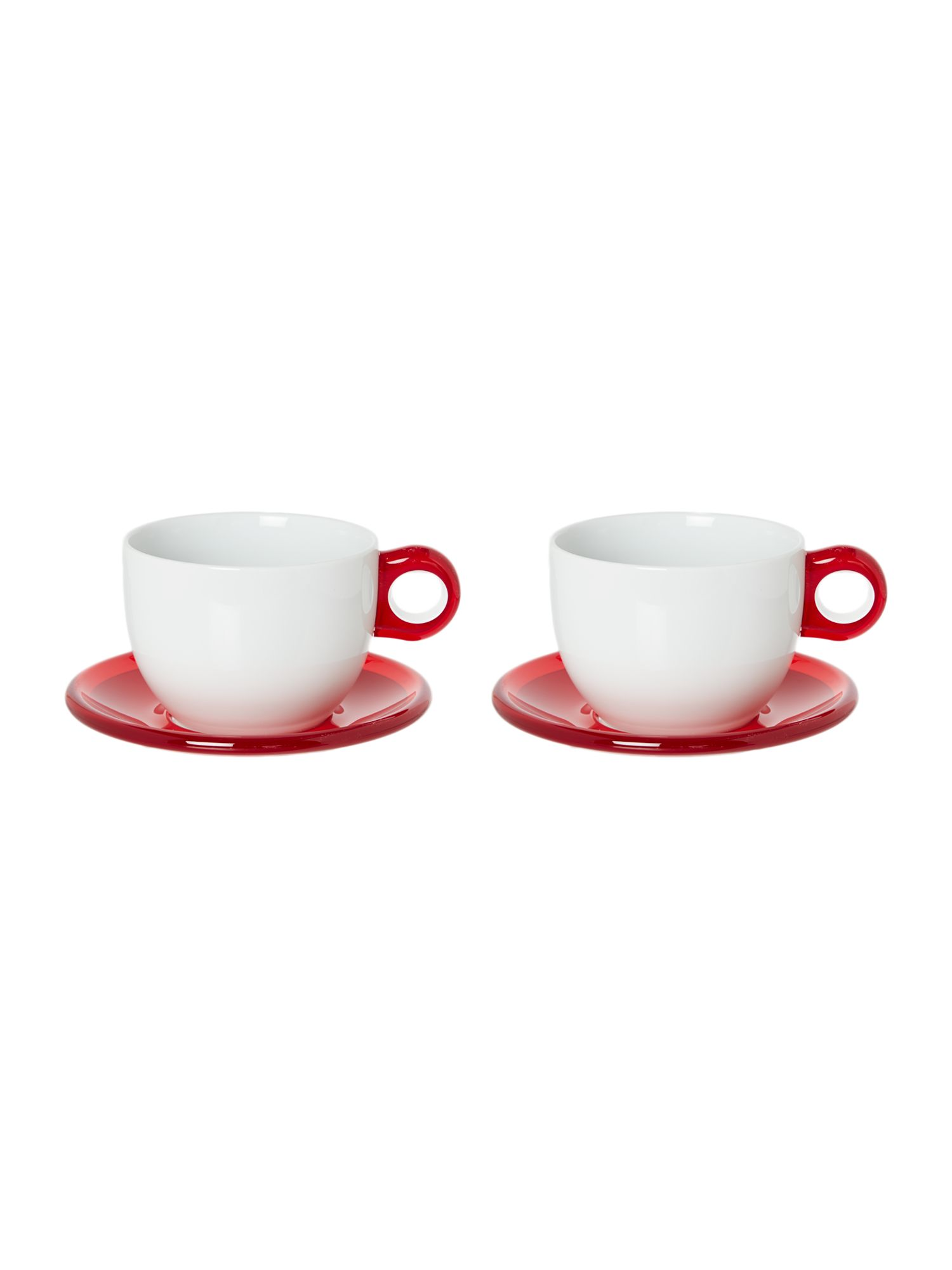 Set of 2 Breakfast cups with Saucers Red