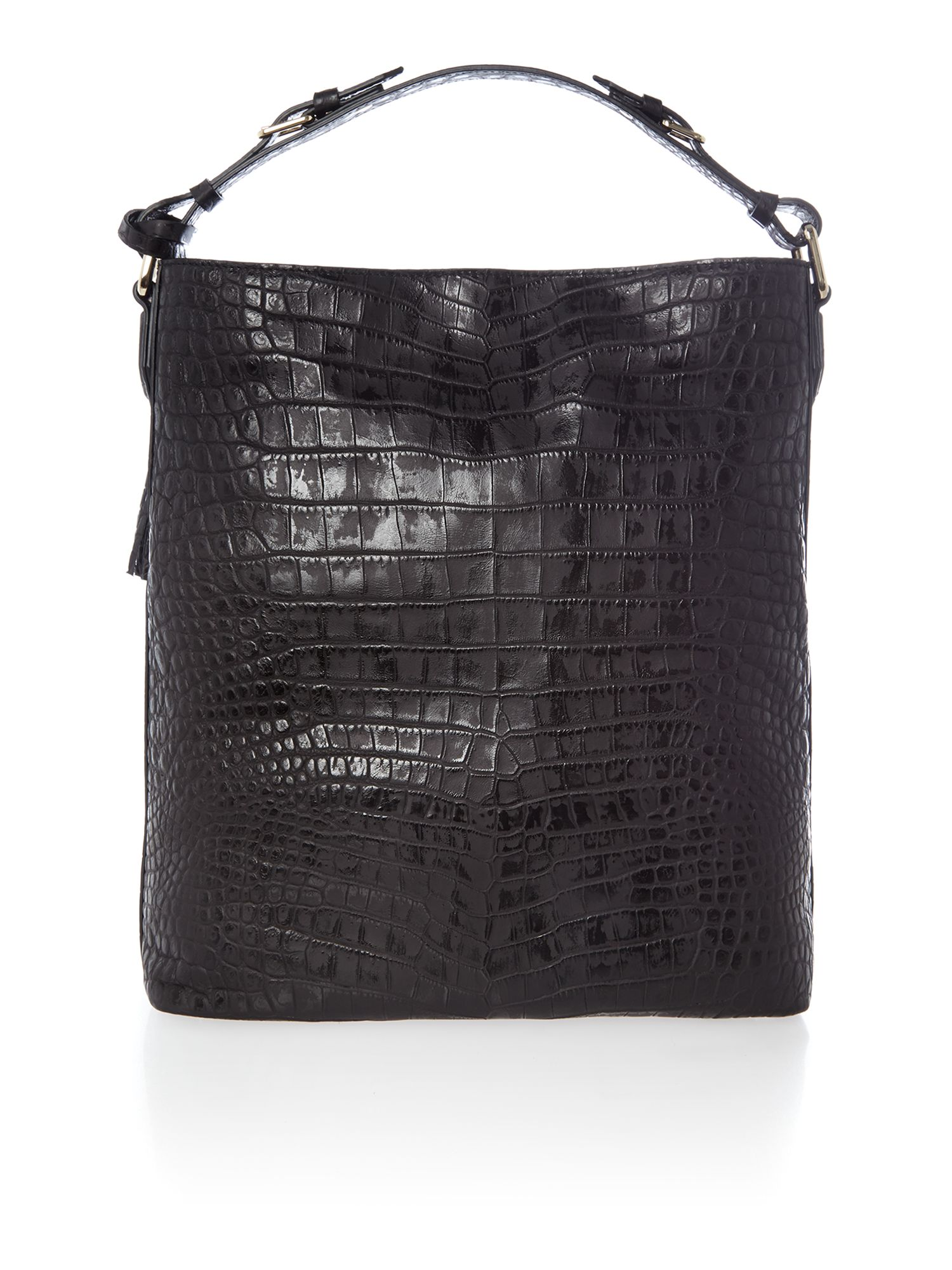 Black croc hobo bag