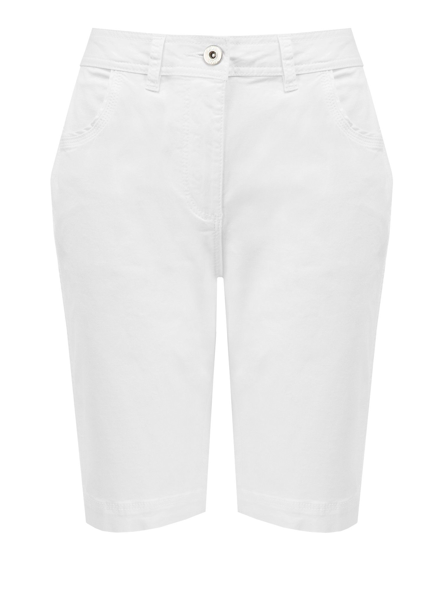 White Cotton Twill City Short