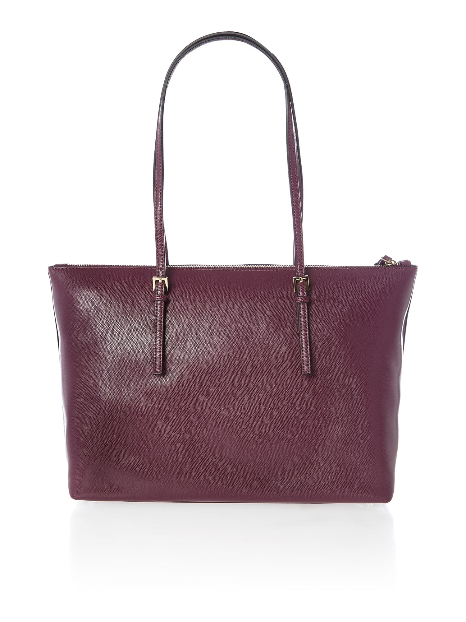 Purple zip top tote bag