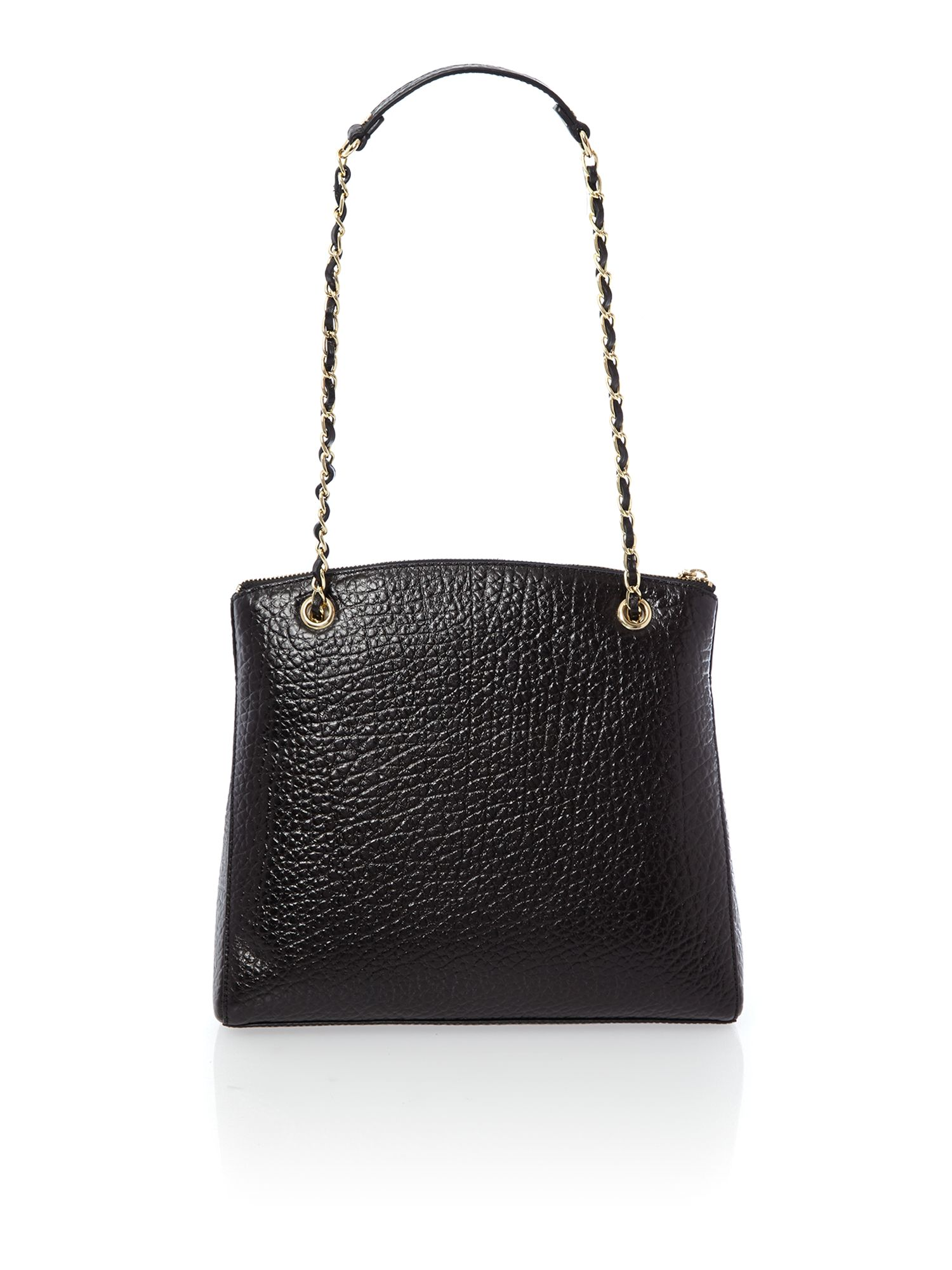 French grain black large chain cross body bag