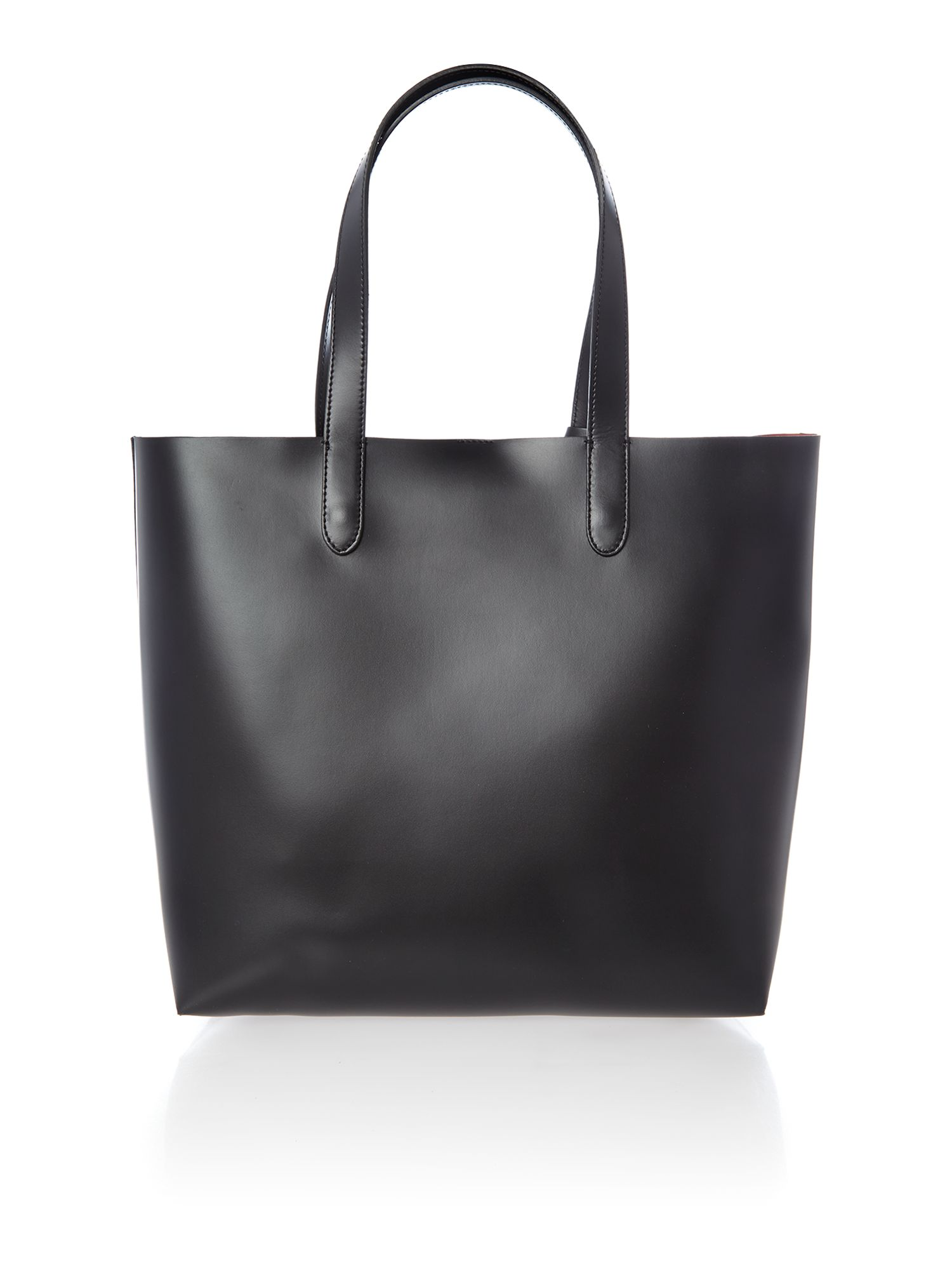 Black north south tote bag