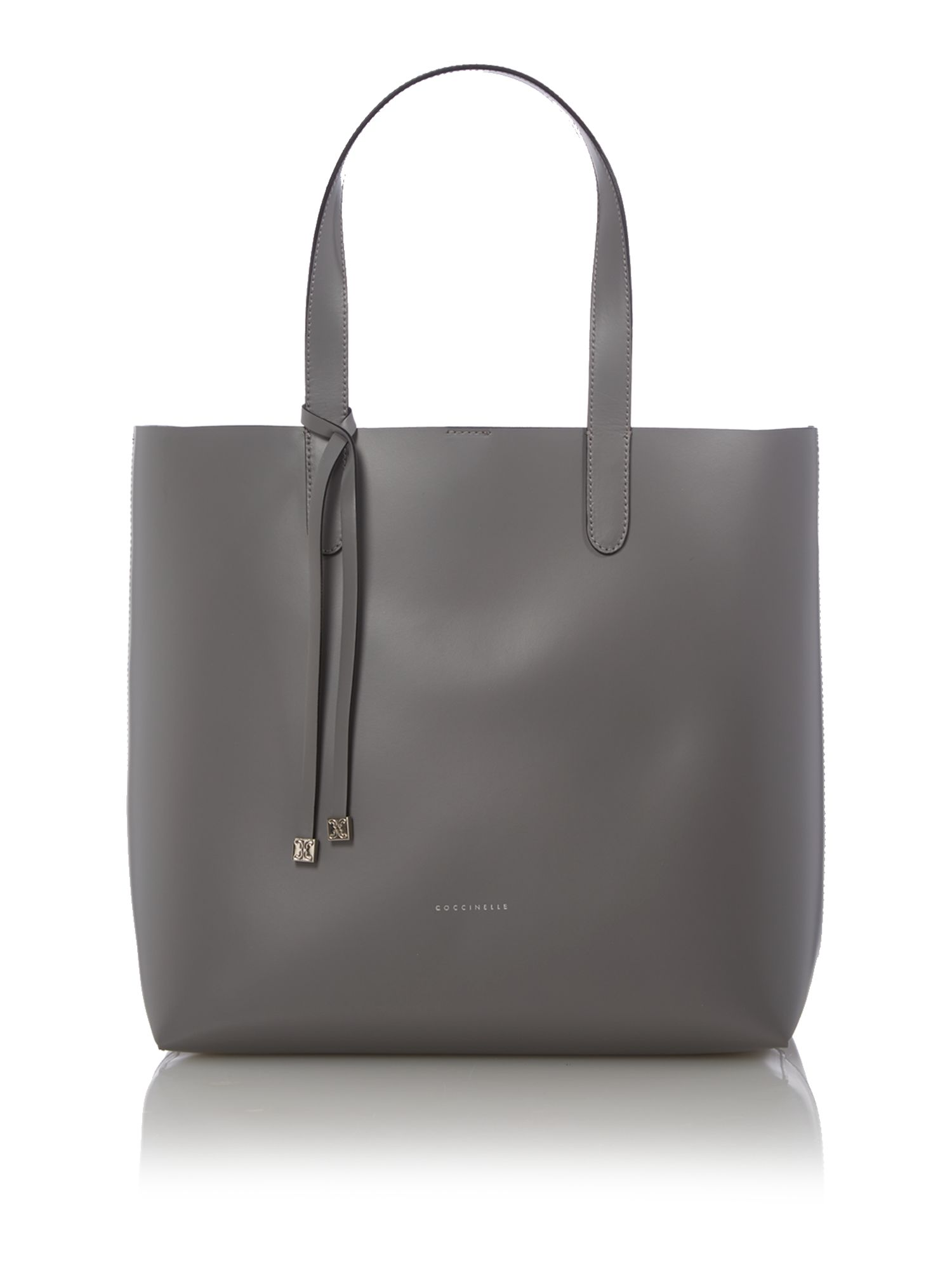 Grey north south tote bag