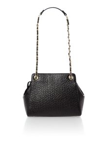 French grain black small top zip chain cross body