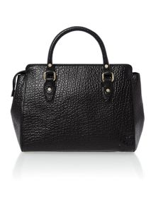 French grain black top zip satchel bag