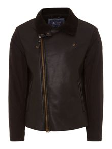 Faux leather flight jacket