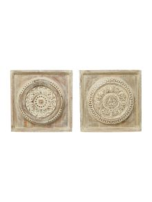 Set of 2 distressed wall art
