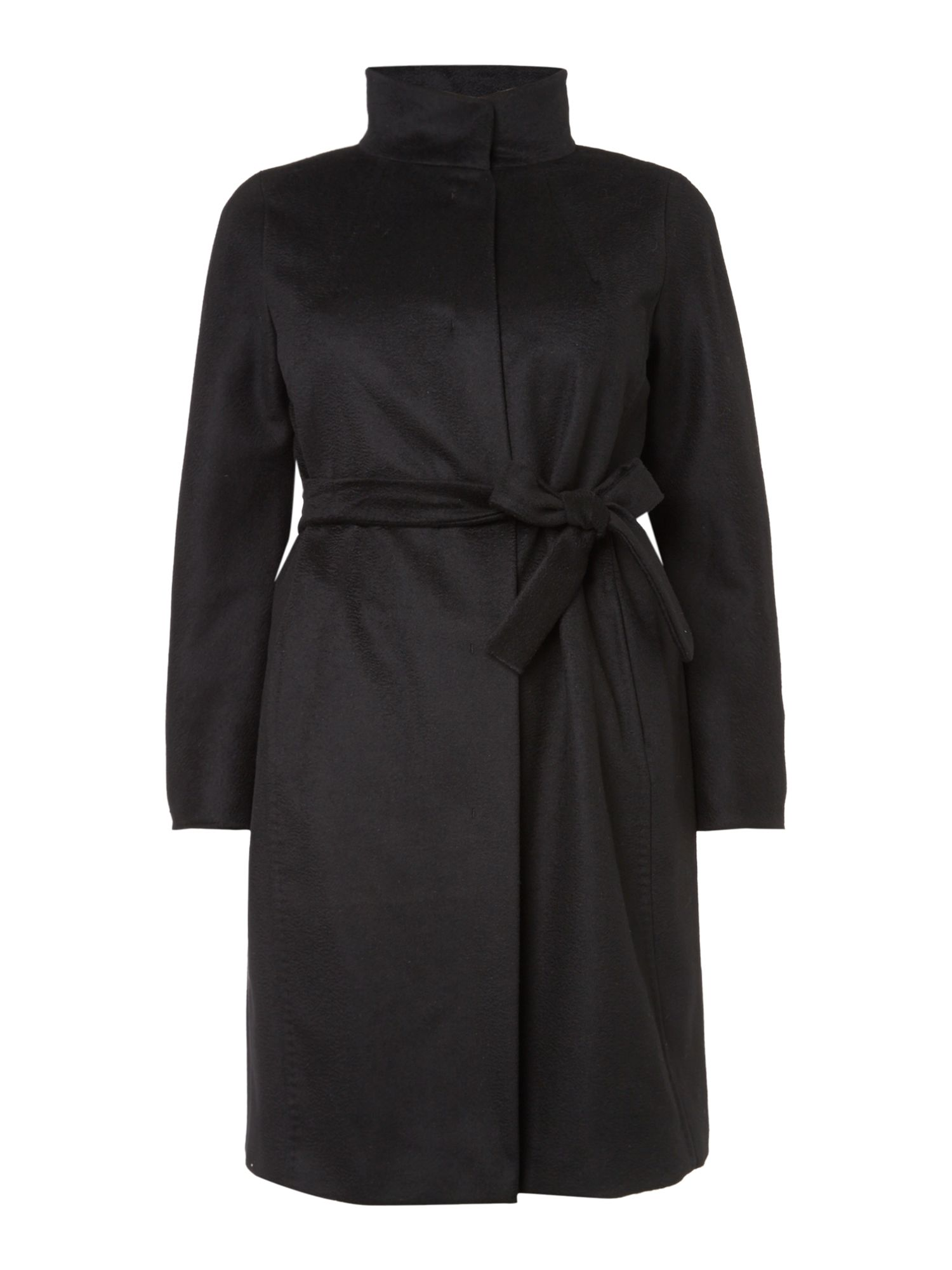 Marina Rinaldi Tesoro funnel neck belted wool coat, Black