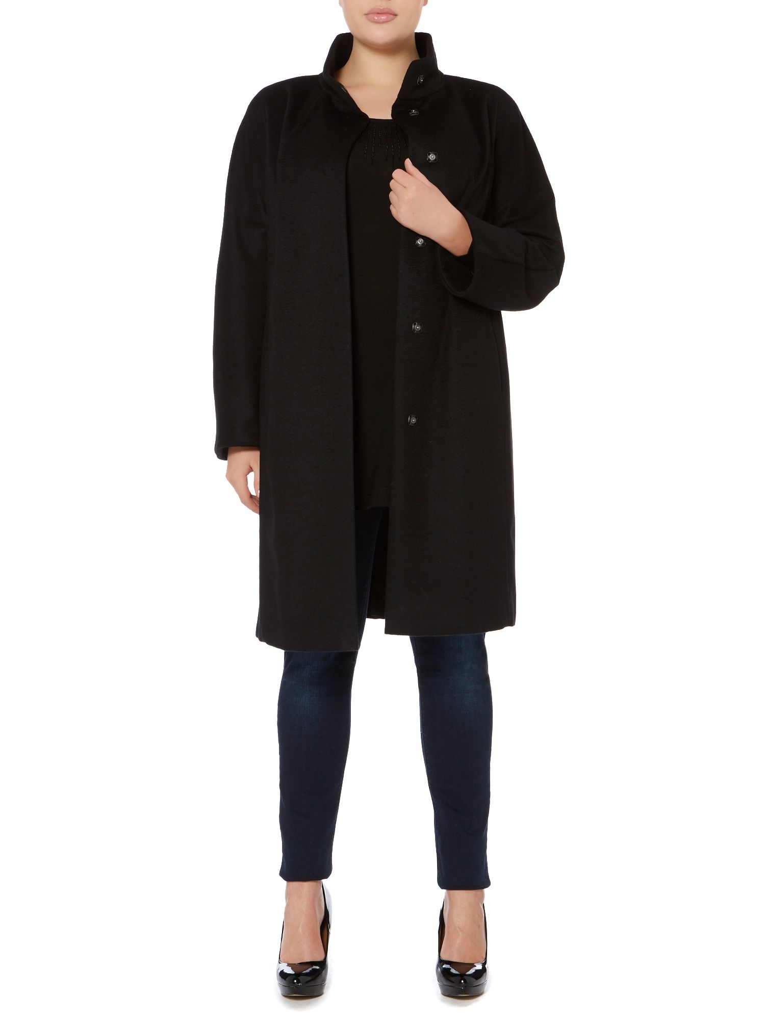 Tesoro funnel neck belted wool coat