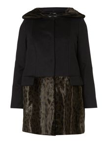 Marina Rinaldi Net faux fur trim wool coat with hood