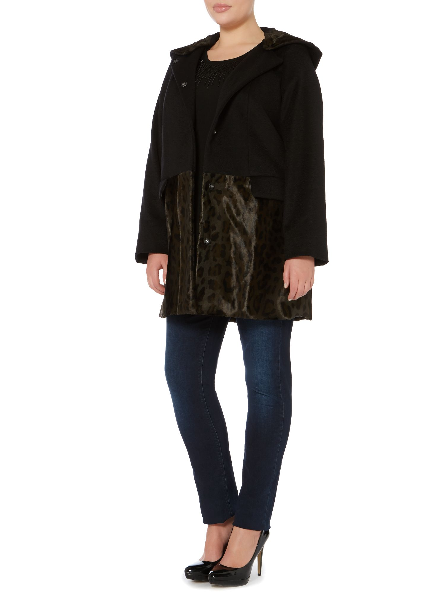 Net faux fur trim wool coat with hood