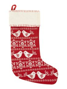 Embroidered birds red stocking