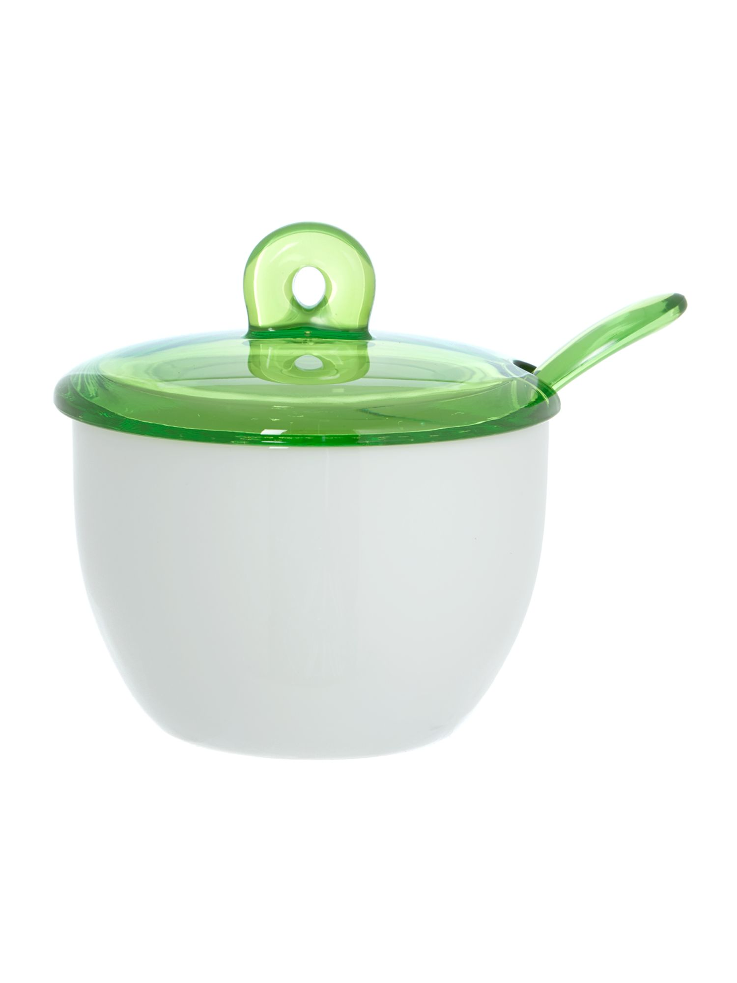 Sugar Bowl With Teaspoon Green