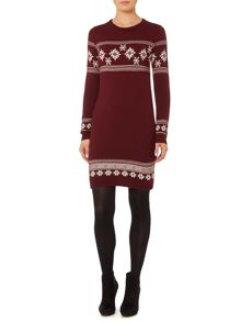 Novelty snowflake placement knitted dress