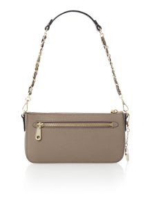 Saffiano brown small chain cross body bag