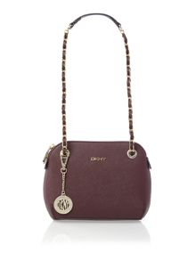 Saffiano purple small rounded cross body bag