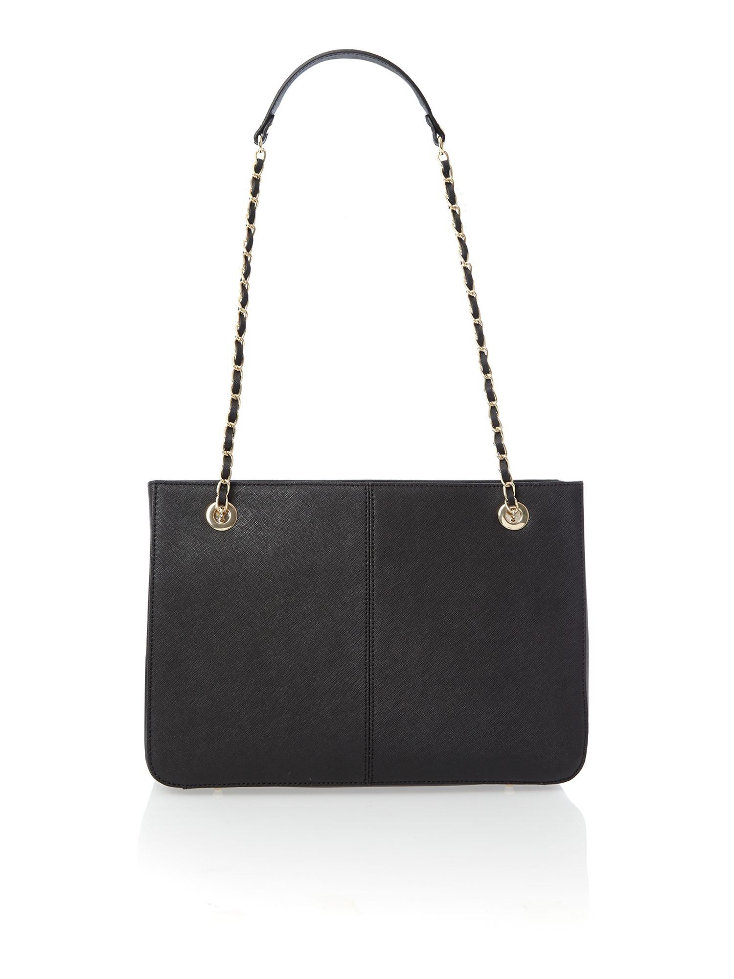 Saffiano black medium chain tote bag