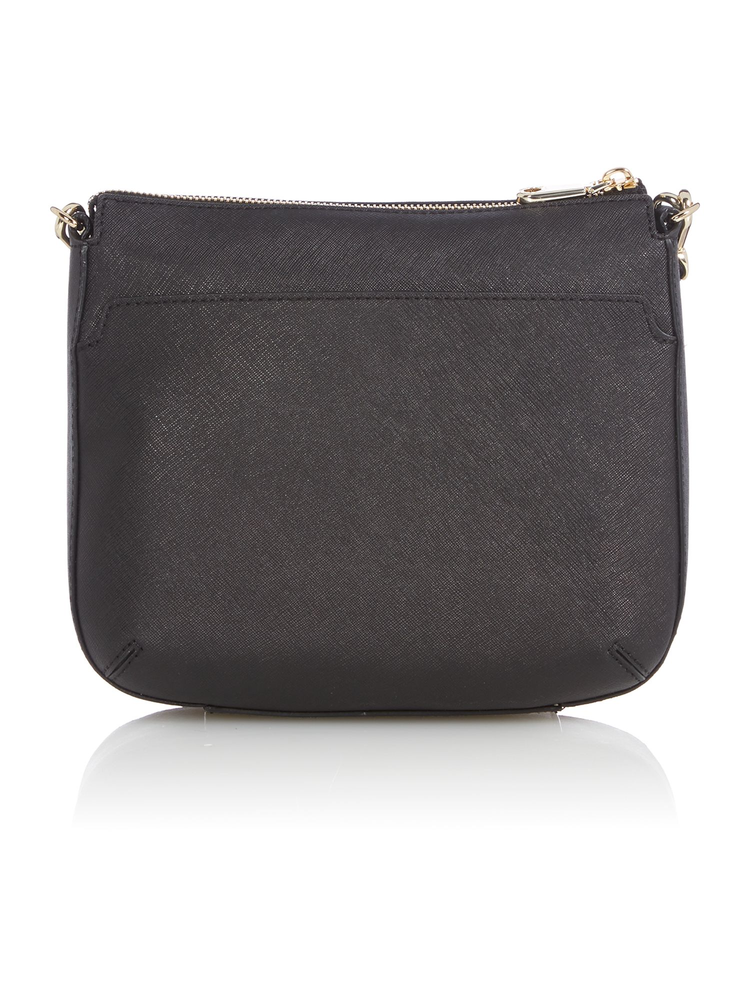 Saffiano black top zip cross body bag