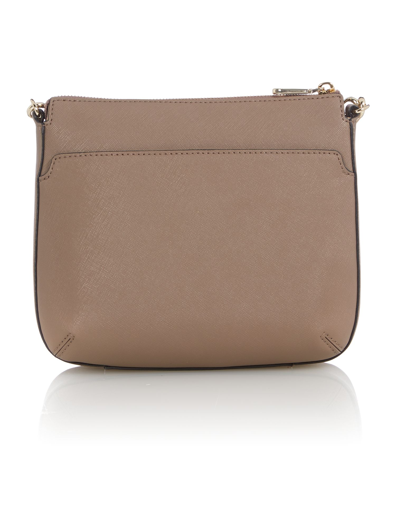 Saffiano brown top zip cross body bag