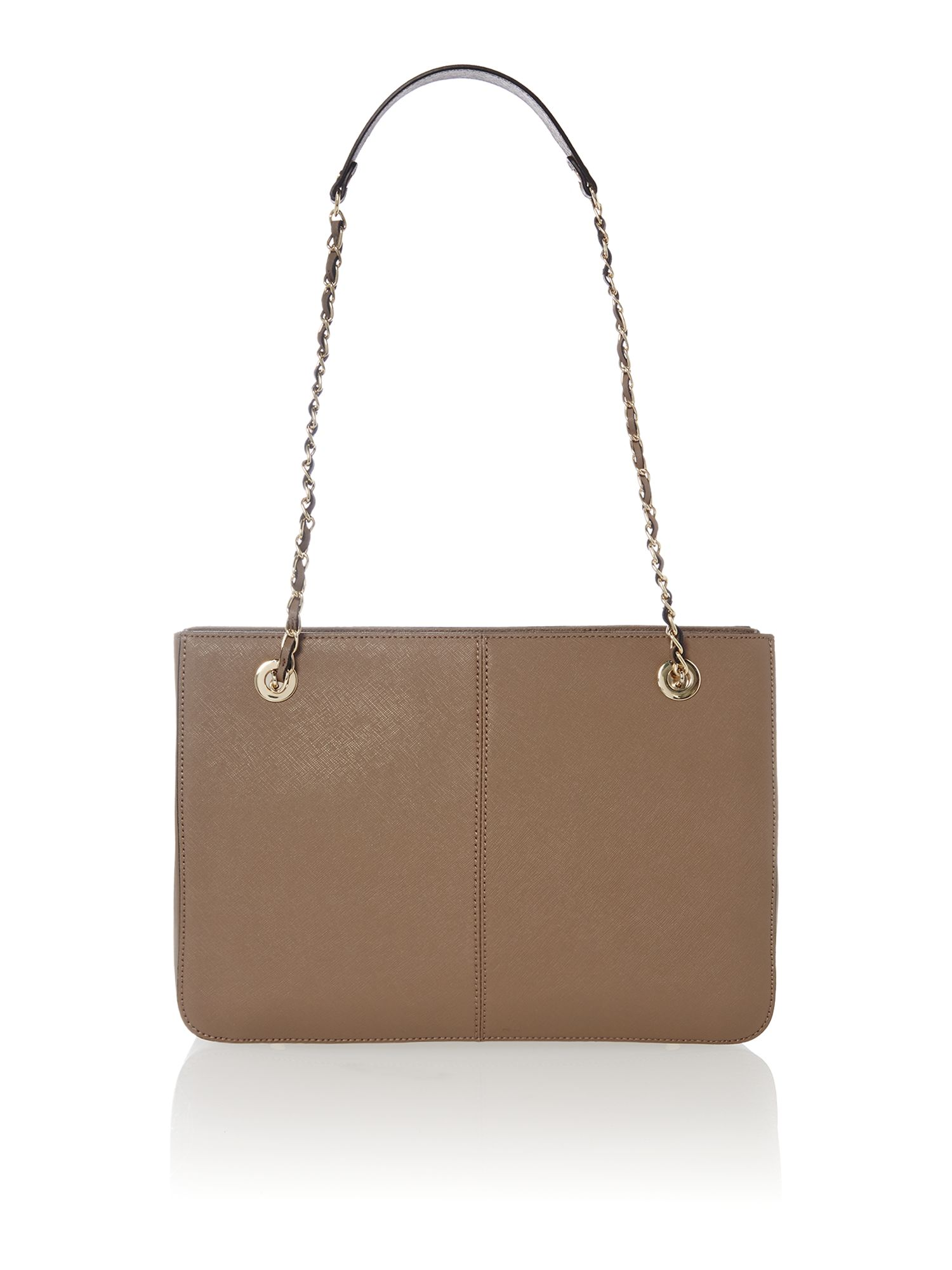 Saffiano brown medium chain tote bag