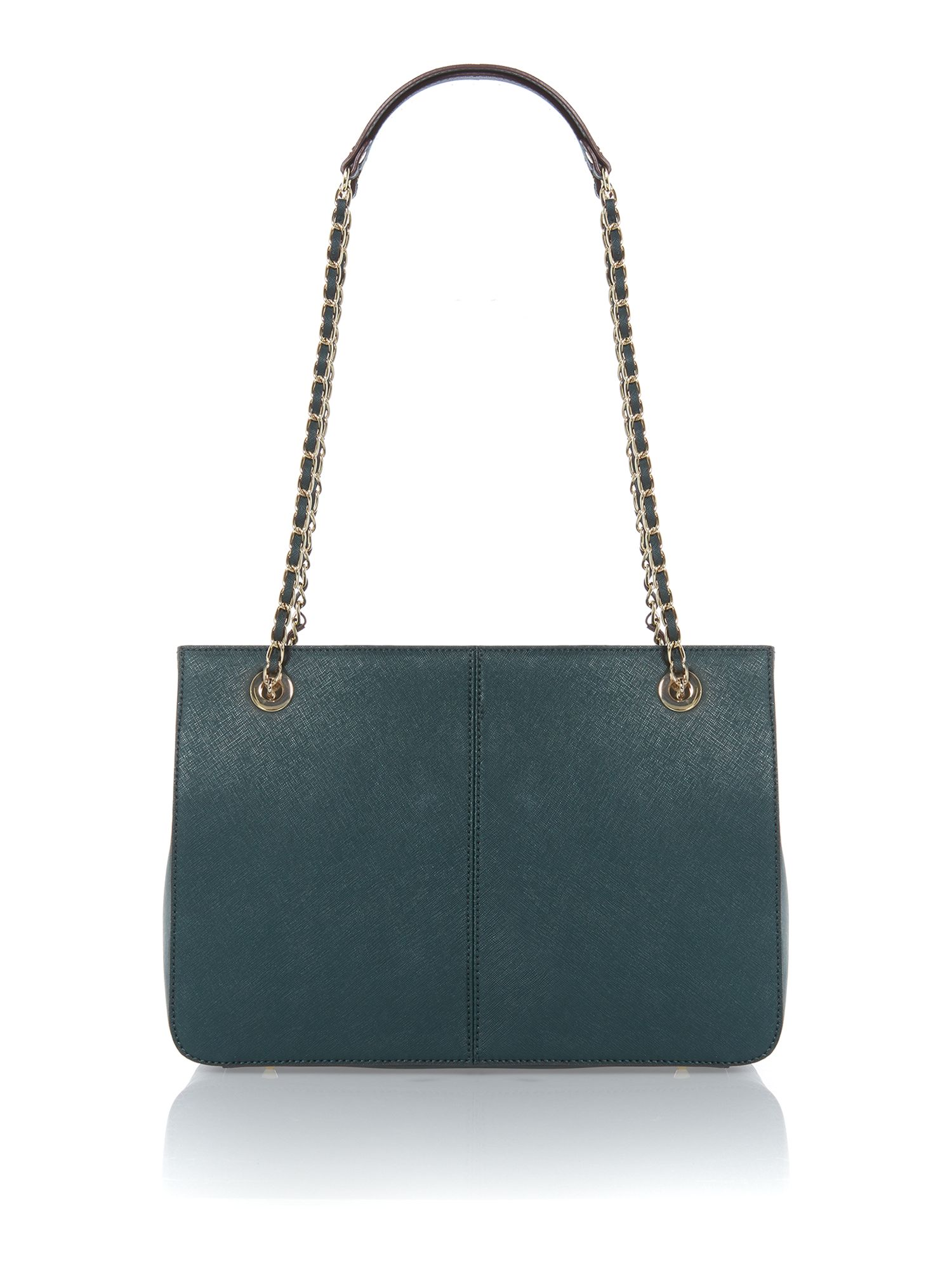 Saffiano green medium chain tote bag