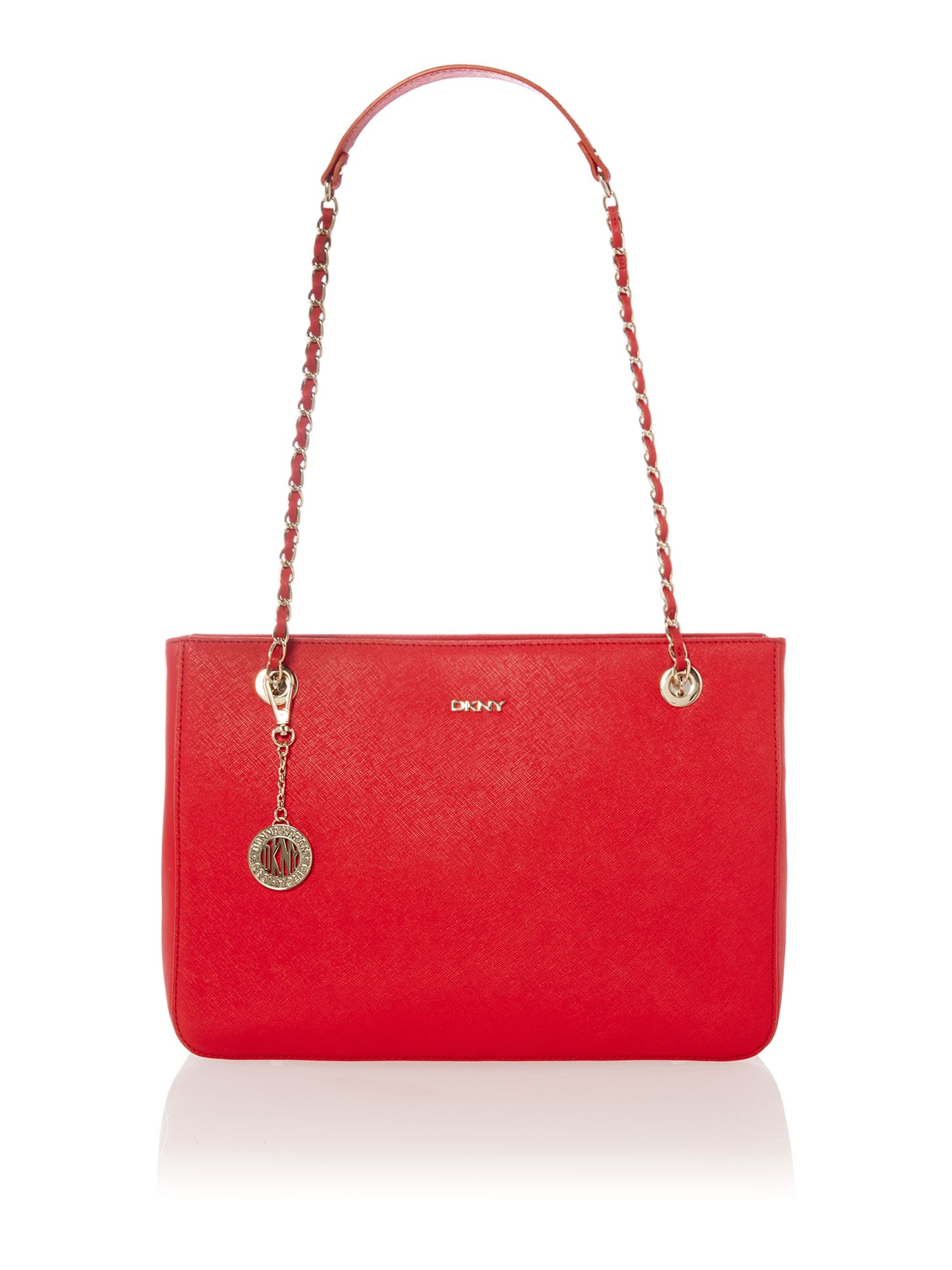 Saffiano red medium chain tote bag