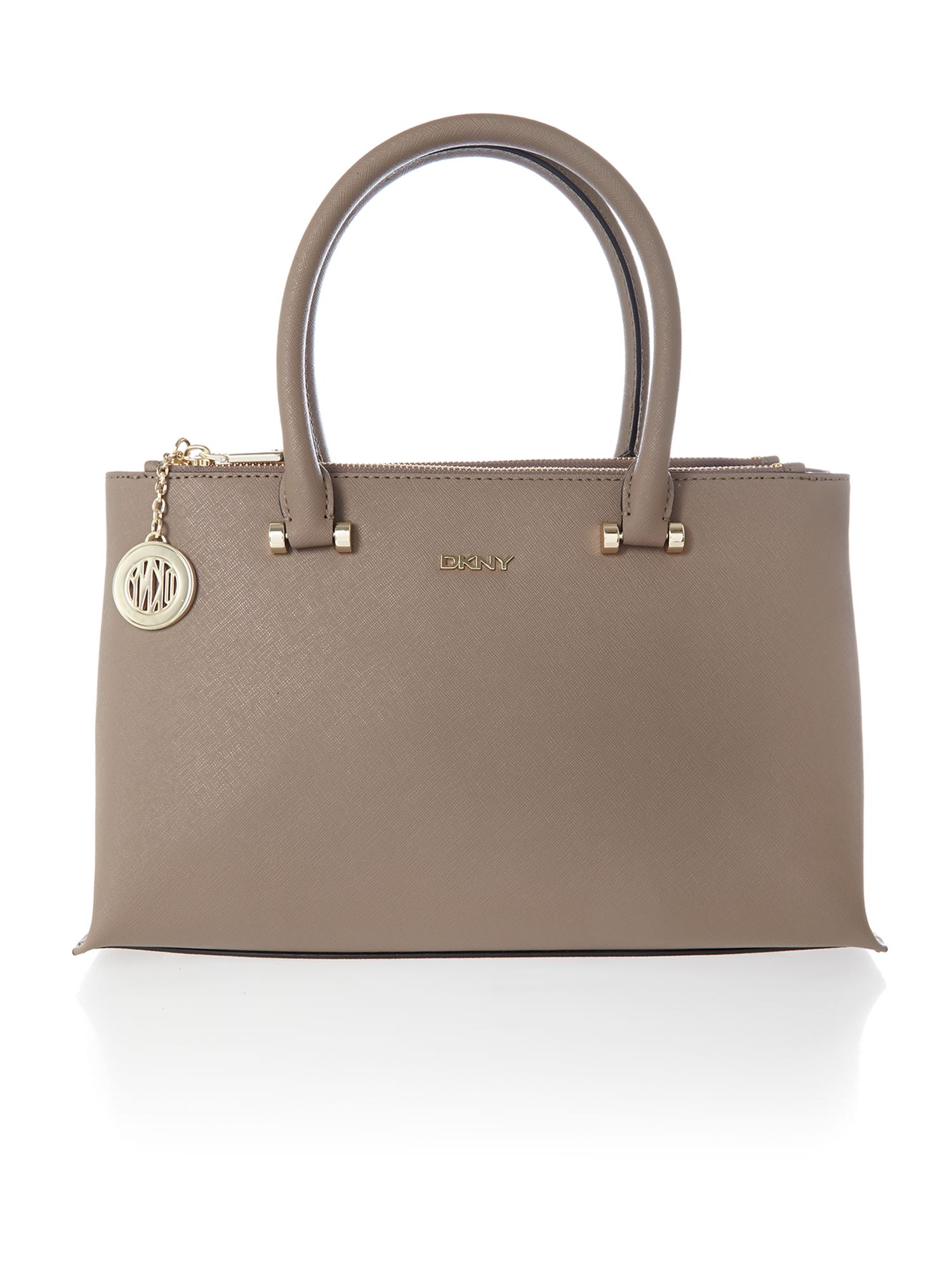 Saffiano brown medium double zip tote bag