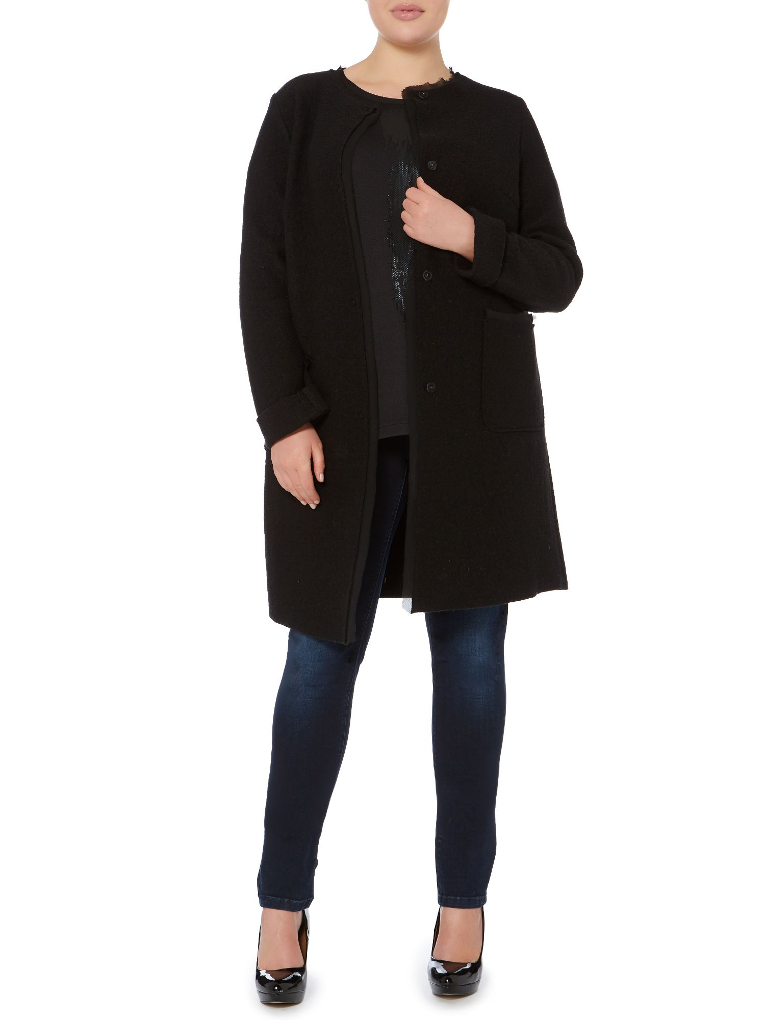 Notturno long sleeved wool cardigan coat