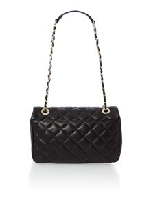 Black medium quilted flap over cross body bag