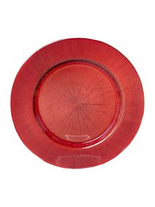 Glass charger plate red