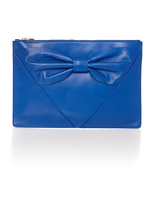 Blue zip clutch bag