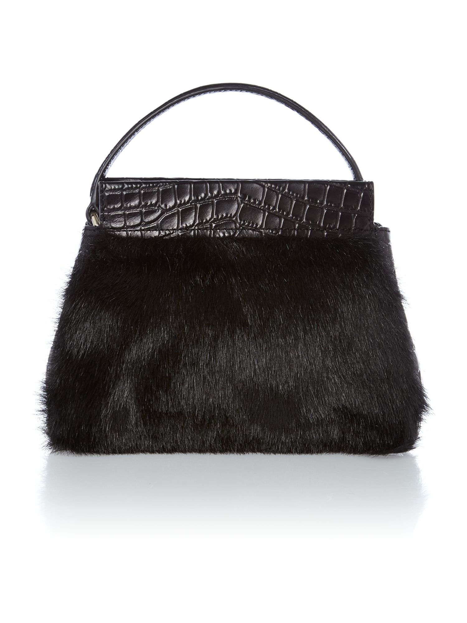 Gramercy black cross body with faux fur detail
