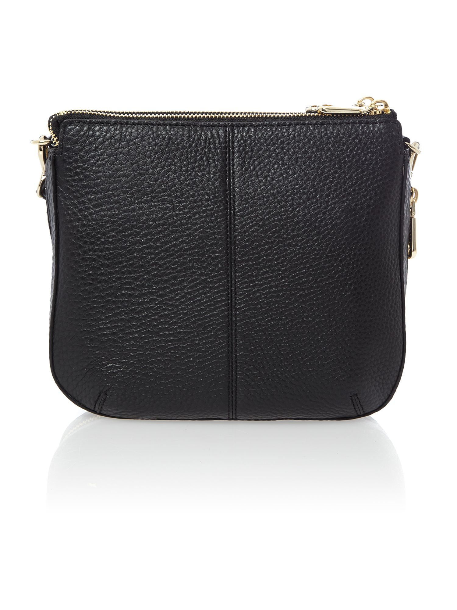 Tribeca black double zip cross body bag