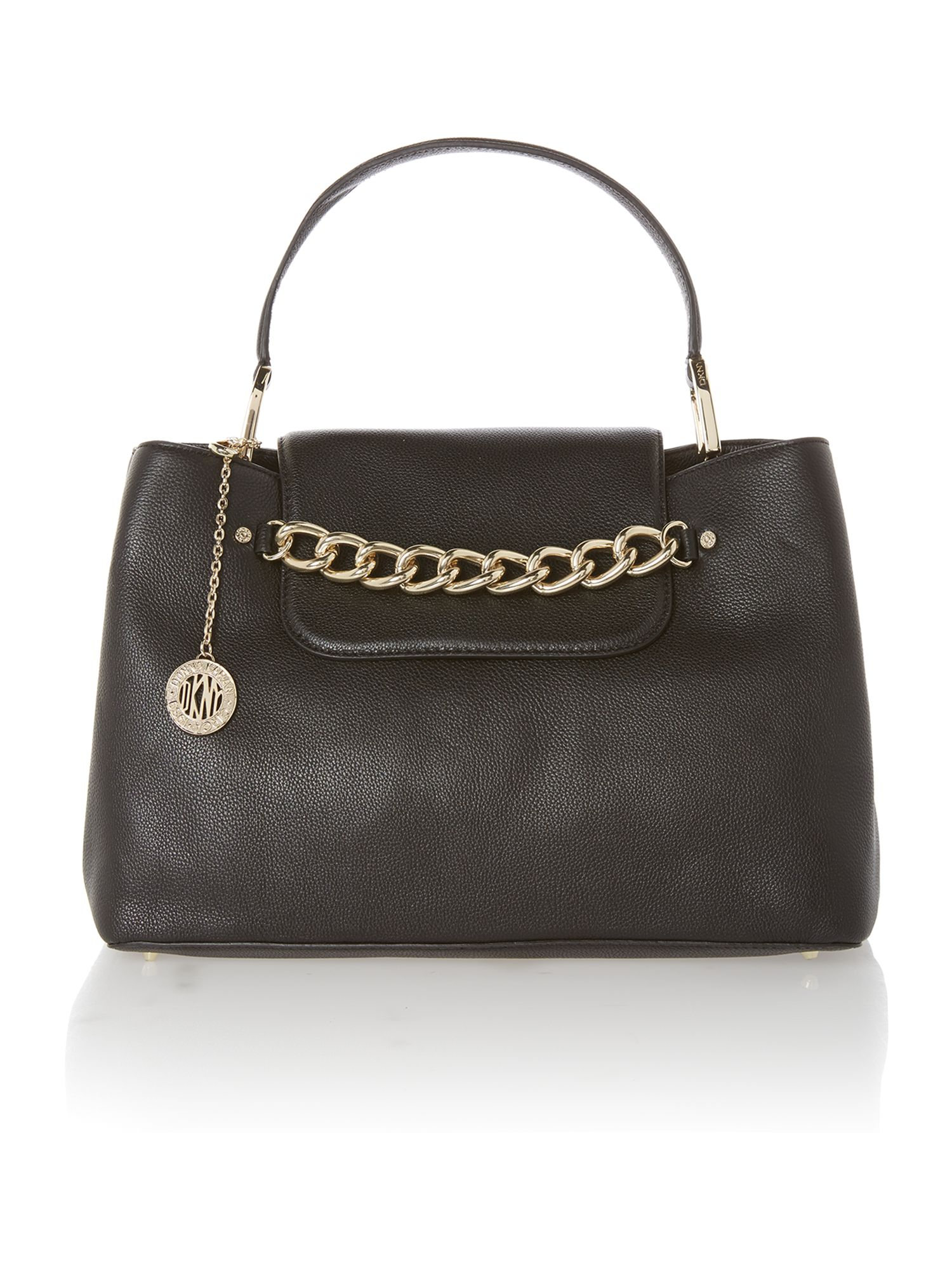Chelsea black large tote bag with chain detail