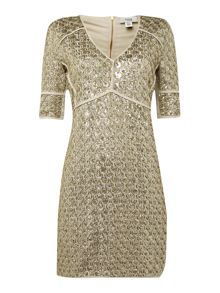 Hoss Intropia Gold embellished shift dress