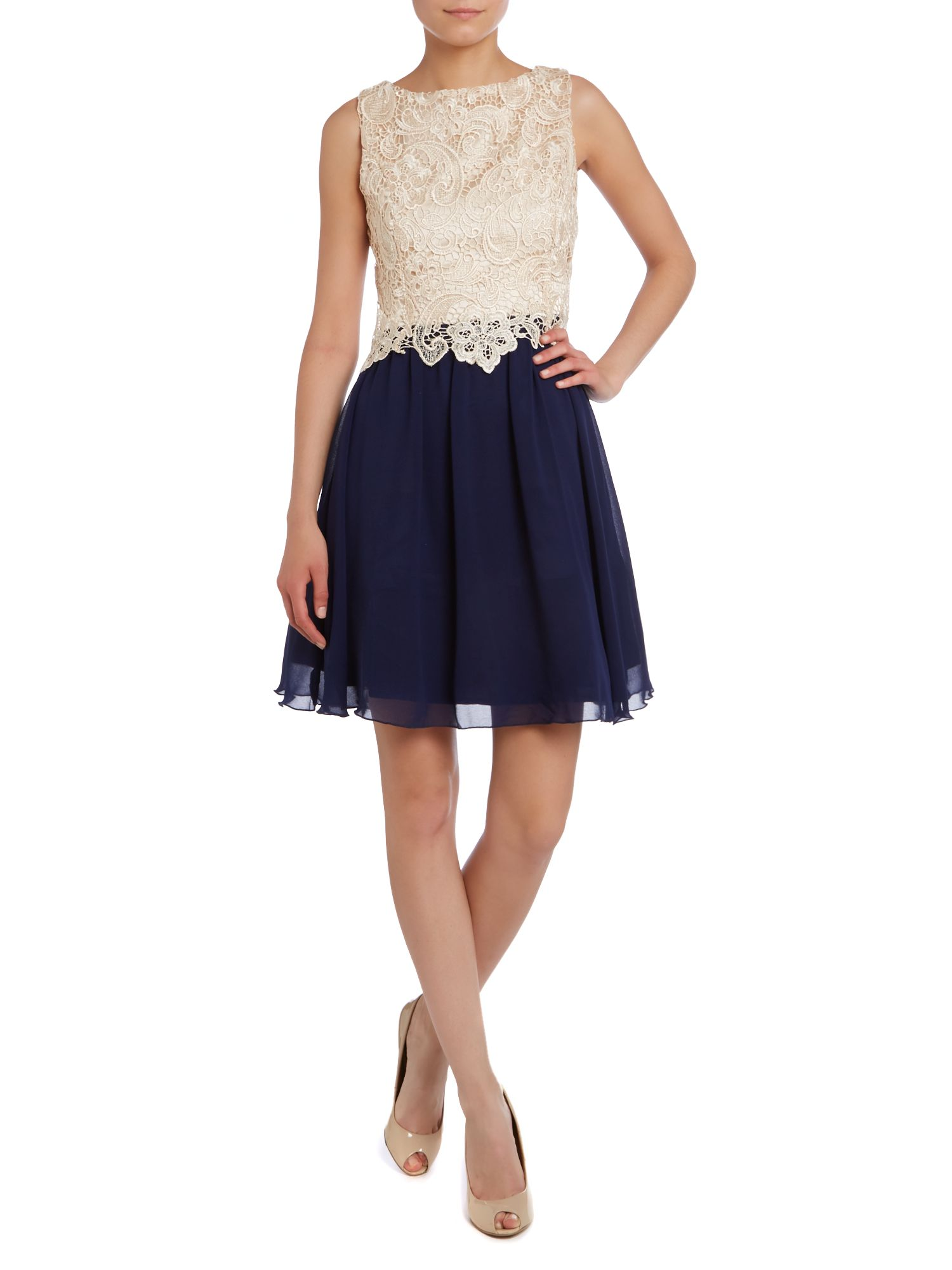 SL LACE TOP FIT AND FLARE DRESS