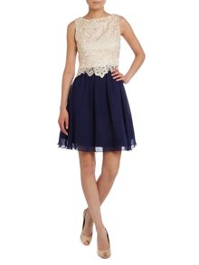Sleeveless lace top fit and flare dress
